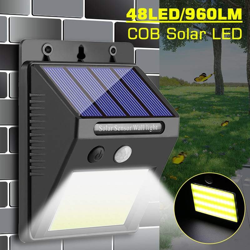 960LM 48LED COB LED Solar  Light Human Infrared PIR Motion Sensor Wall Lamp Outdoor Security Night Light Waterproof IP65