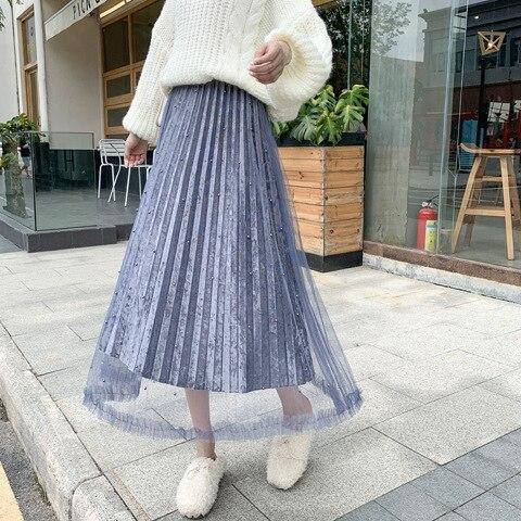 Autumn & Winter New Style Gold Velvet Pleated Skirt Skirt Long Skirts Skirt Fairy Skirt Mid-length Mesh Skirt WOMEN'S Dress