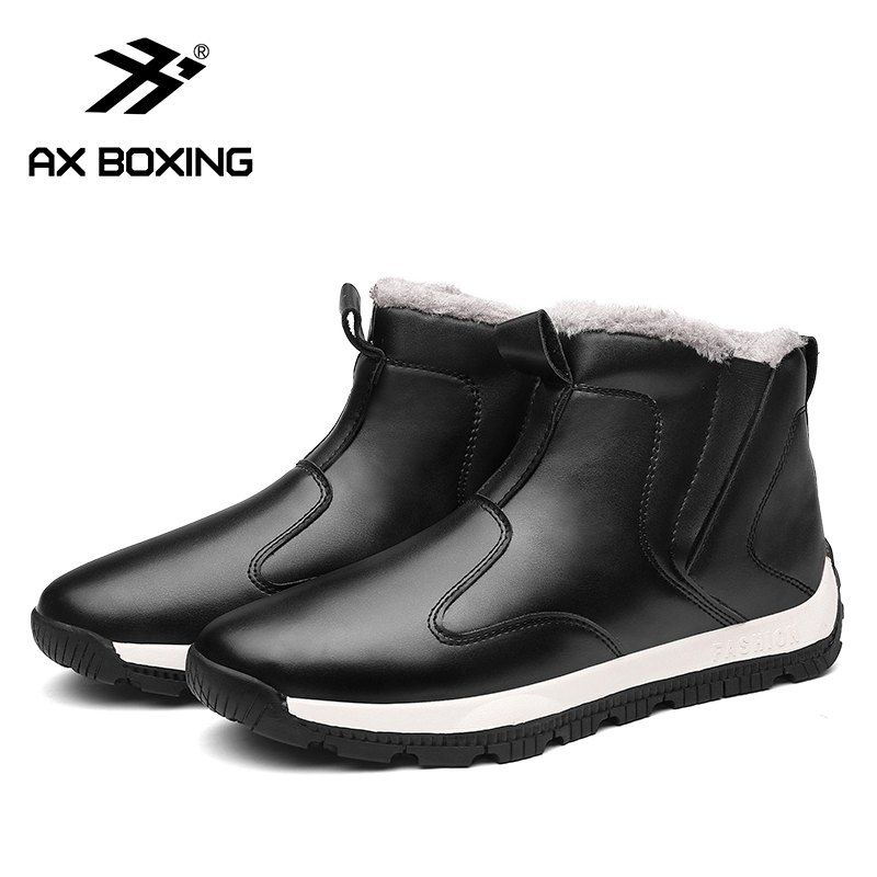 AX BOXING Winter Men's Snow Boots For Man Waterproof Russian Winter Warm Leather Ankle Boots Men Shoes Large Size 39-48