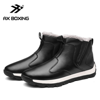 AX BOXING Winter Men's Snow Boots For Man Waterproof Russian Winter Warm Leather Ankle Boots Men Shoes Large Size 39 48