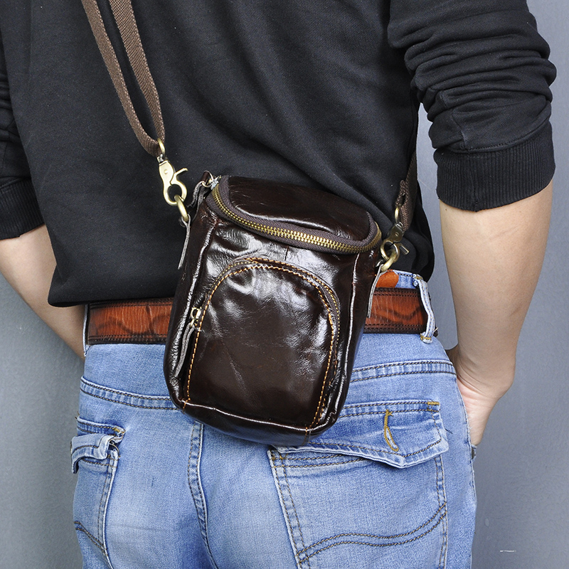 Quality Leather Men Design Casual Small Messenger Crossbody Bag Fashion Hook Fanny Waist Belt Bag Phone Pouch Male 1167-c
