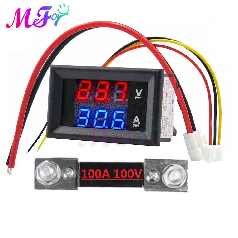 1 пара DC вольтметр переменного тока + 70mv шунта DC 100V 100A Вольтметр Амперметр синий + красный светодиодный Ампер Dual Цифровой вольтметр датчик с ...
