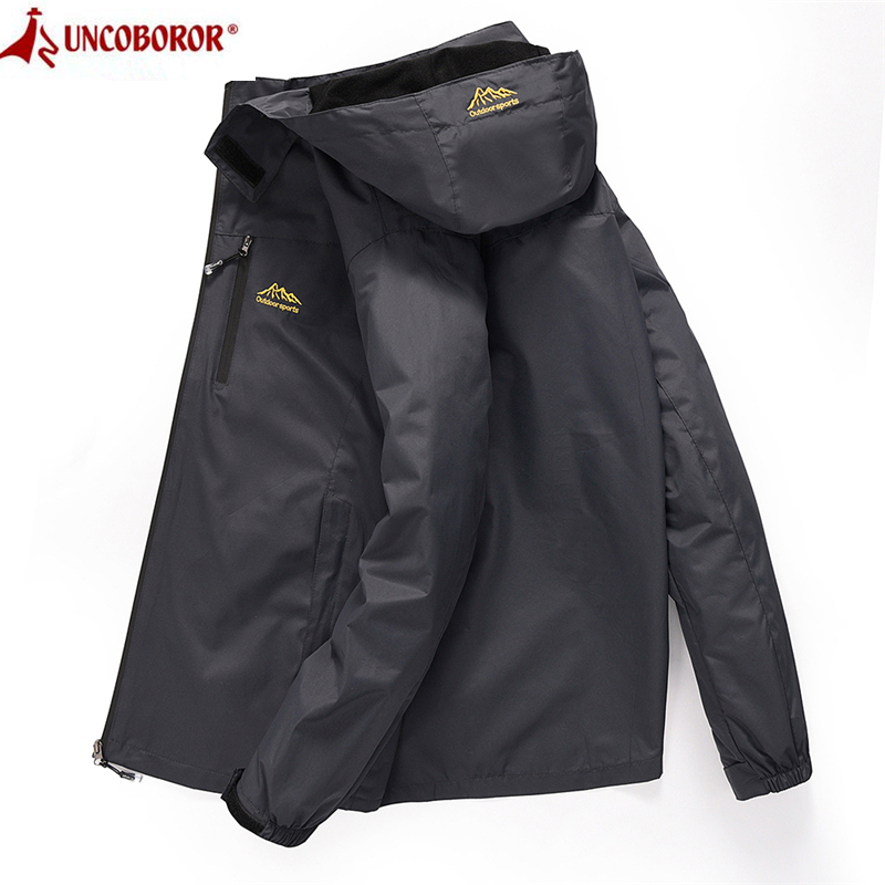 Men's Casual Waterproof Jacket 2019 Spring Autumn Tourism Windbreaker Bomber Jacket Male Raincoat Windproof Hooded Coat 4XL