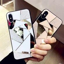 Şık Premium elmas ayna elmas durumda iPhone 6 için iPhone X 6S 7 8 artı XS Xr Max 9 10 yumuşak silikon arka kapak