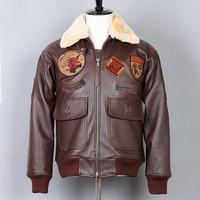 Avirex fly avaitor genuine men paratrooper Fur Collar real leather coat men's Brown Cowhide G1 Bomber Jacket
