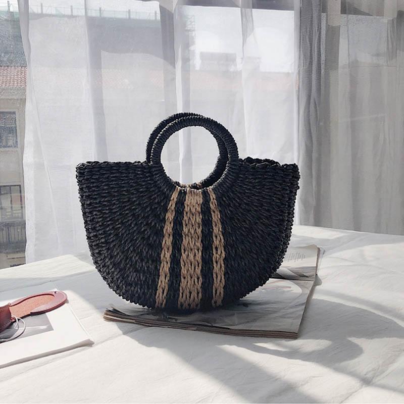 Half Moon Straw Tote Straw Handbags Summer Beach Bags Straw Bag Handmade Vintage Woven Handbag For Women