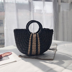 Half Moon Straw Tote Straw handbags Summer beach bags Straw bag Handmade Vintage Woven Handbag For Women