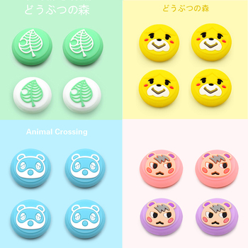 Green Nintend Switch Joy Con Animal Crossings Thumb Grips Caps Kawaii Leaf  Type Silicone Case For Nitend Switch Lite Cute Cover