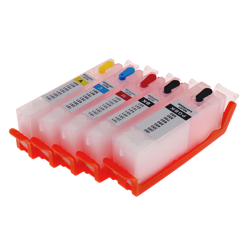 5pcs PGI-580 CLI-581 Refillable Ink Cartridge For <font><b>Canon</b></font> <font><b>TS6150</b></font> TS8150 TS9150 TS9550 TS8250 TS705 TS8350 TS6350 with ARC Chips image