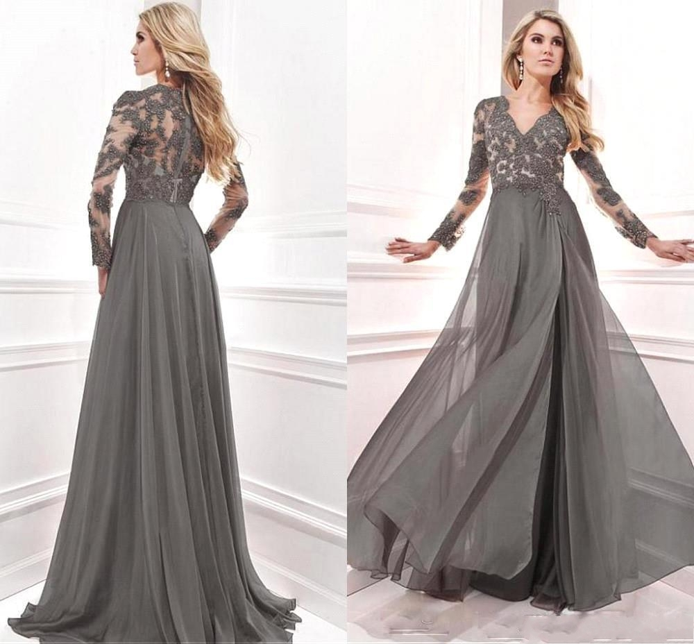 2020 New Gray Mother of the Bride Dresses Formal Gown Evening Dresses With Lace Appliuqes Long Sleeve V Neck robe de soriee