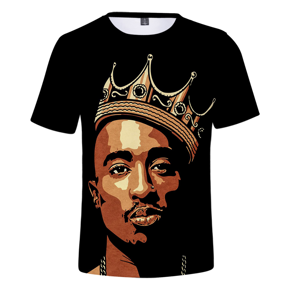 New Hip Hop Artist 2pac T-shirt Summer Cool White Fashion Casual T-shirt Print Rapper 2pac 3D Men Women Cartoon Tees Piece Short image
