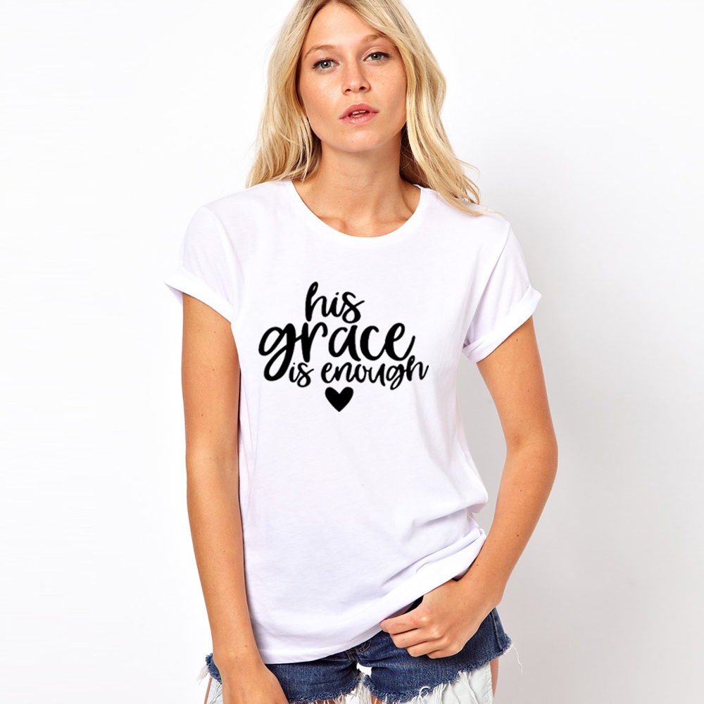 His Grace Is Enough T-Shirt Christian Jesus Tee Clothing His Grace Is Sufficient Graphic Tops Tumblr Slogan Shirt Outfits