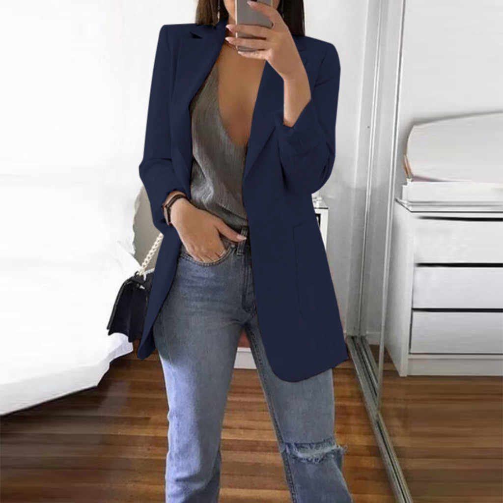S-5XL женское осенне-зимнее пальто с длинным рукавом, офисное пальто, кардиган, костюм для девушек, модная однотонная приталенная длинная куртка с карманами