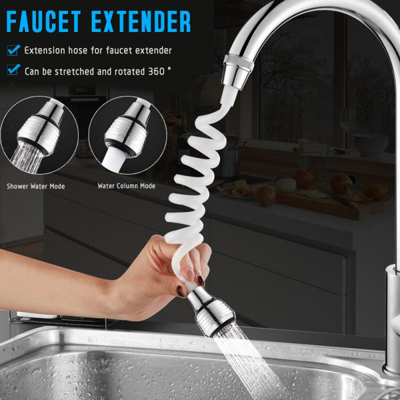 Kitchen Bathroom Faucet Extension Extender Long Hose Foaming Shower Bubbler Bathroom Accessories