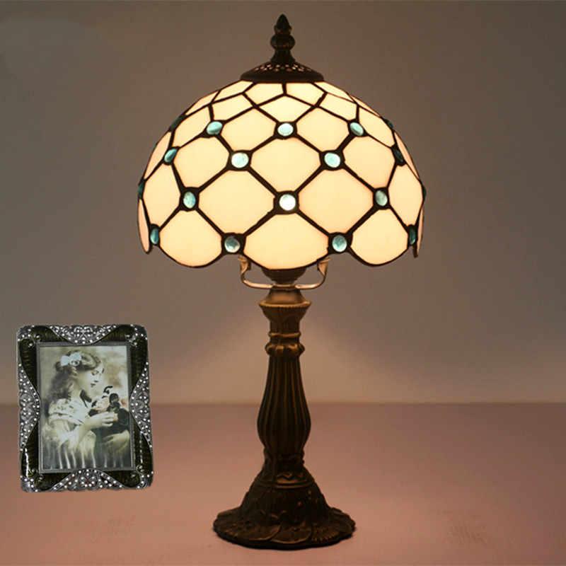 Lámpara Tiffany lámpara de mesita de noche de dormitorio Retro Barra de cristal amarillo lámpara de mesa Base de resina lámpara de mesa de maquillaje