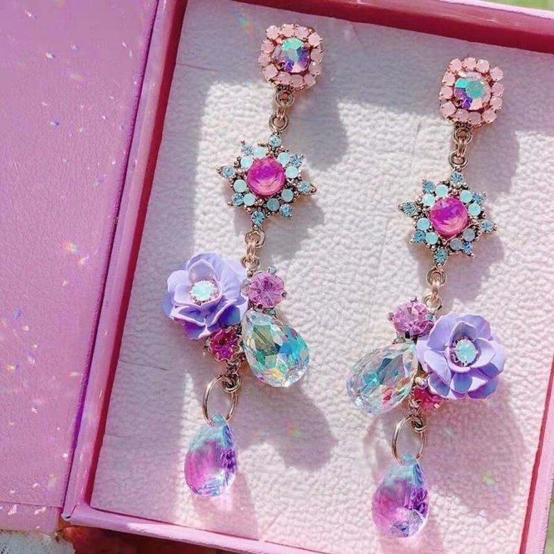 MENGJIQIAO Korean Vintage Elegant Resin Flower Waterdrop Crystal Dangle Earrings For Women Girls Party Pendientes Jewelry Gifts