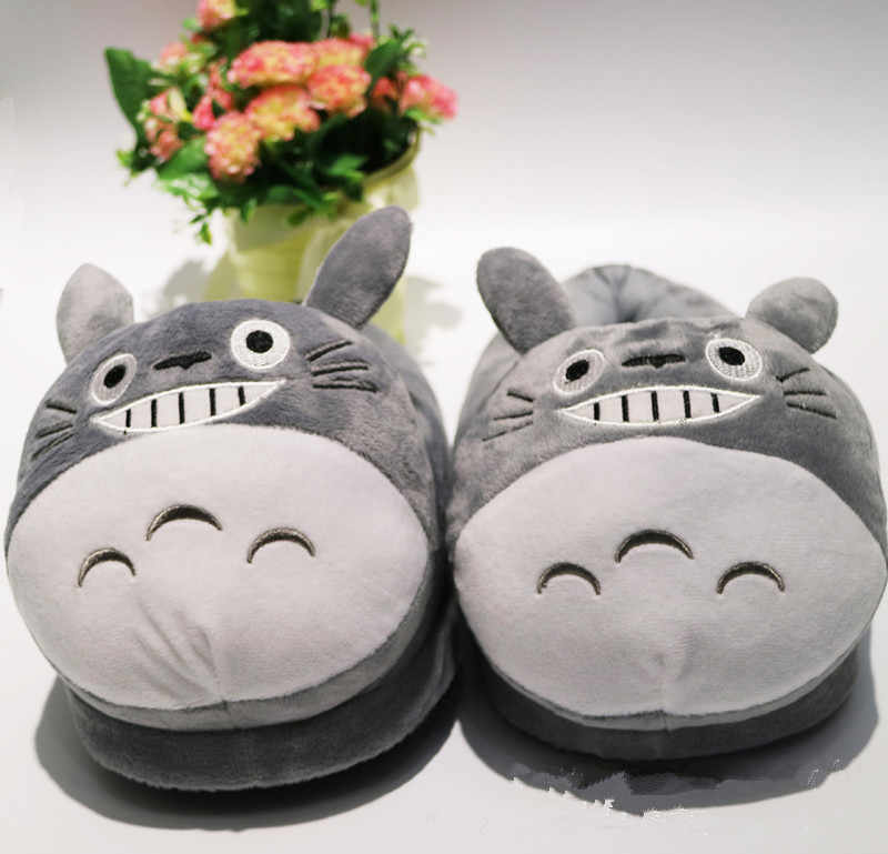 My Neighbor Totoro Keep Warm Gray Totoro Cat Kawaii Winter Cotton Home Room Shoes Couple Soft Stuffed Non-slip Women Slippers