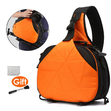 DSLR Camera Triangle Sling Shoulder Cross Body Waterproof Soft Padded Men Women Bag Black Orange Case for Canon Nikon Sony SLR