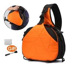 DSLR كاميرا مثلث الرافعة الكتف عبر الجسم مقاوم للماء لينة مبطن الرجال النساء حقيبة أسود برتقالي الحال بالنسبة لكانون نيكون سوني SLR