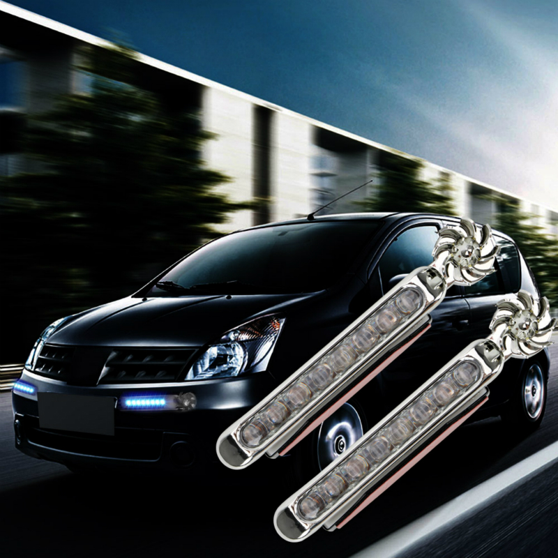 Power Supply  LED Wind Powered Car Daytime Running Lights Auto Decorative Lamp With Rotation Fan No Need External 1 Pair