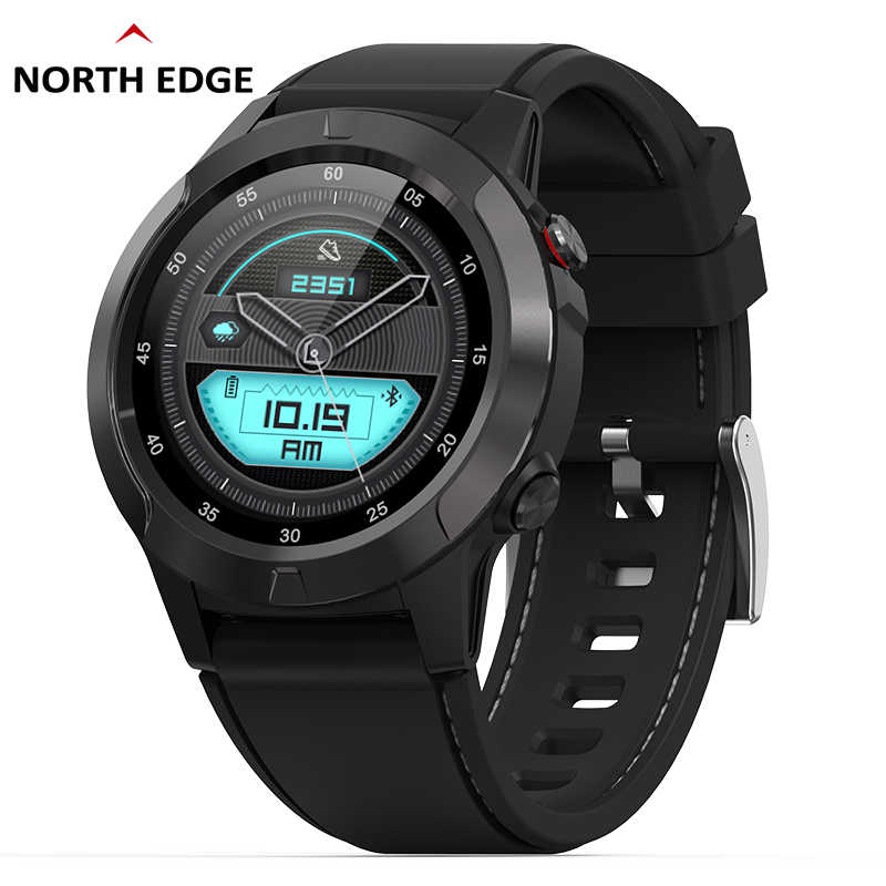 North Edge GPS Men Smart Watch Running Pedometer Sports Smartwatch Heart Rate Blood Pressure Bluetooth Altimeter Compass Clock
