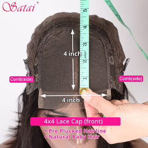 Image 4 - Satai Brazilian Straight 4x4 lace closure Human Hair Wigs Pre Plucked Hairline with Baby Hair Remy Lace Closure Wig