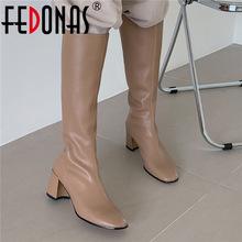 Thick Heels Basic-Boots Long-Shoes FEDONAS Knee Winter Woman Fashion Newest Slim Zip