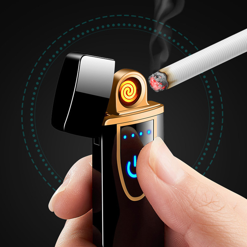 Rechargeable Electric Windproof Lighter Touch Screen Tungsten Heating Electronic Cigarette Lighters Thin USB Charging Lighter