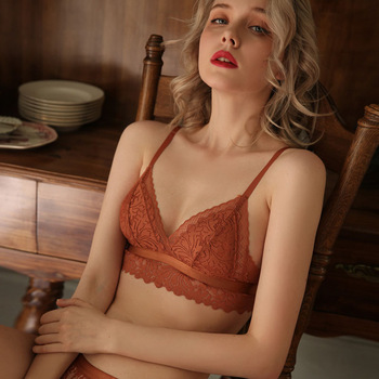 CINOON New French underwear Set Lace Sexy Push-up Bra And Panty Sets Comfortable Brassiere Wire Free Embroidery Flowers Lingerie