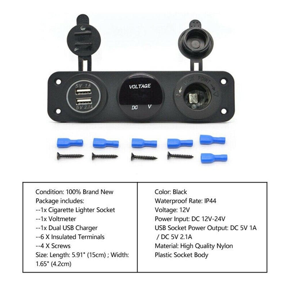 12V 24V Campervan Switch Panel For Vw Lights Voltmeter Dual USB Universal UK