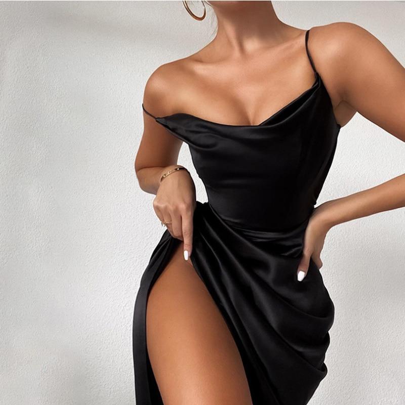 Robe Blanc Robes De Verano Sangle Sexy Robe De La Correa Femmes Blanche Blanco Été Hors Épaule Noir Taille Haute