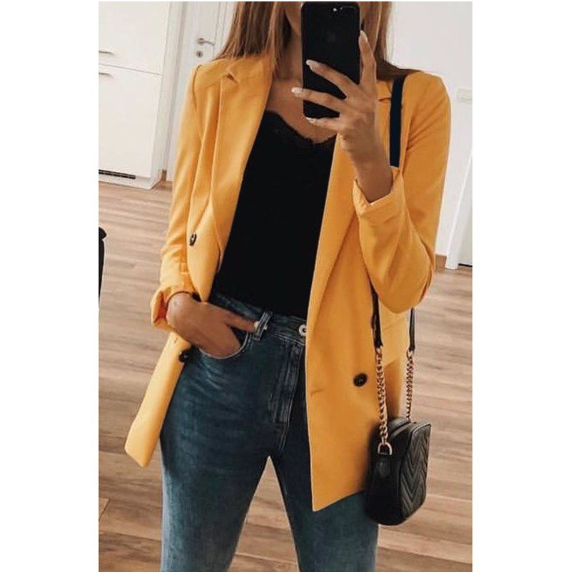 Office Lady Blazers 2019 Women Long Sleeve Coat OL Clothes Eleagnt Women Blazer Double Breasted Tops Solid Coat Womens Clothing