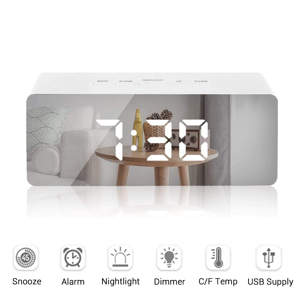 Dimmer Wakeup Light Mirror Digital Alarm Clock Snooze Electronic Travel Clock With Large Time Temperature Display For Home Decor Alarm Clocks    - AliExpress