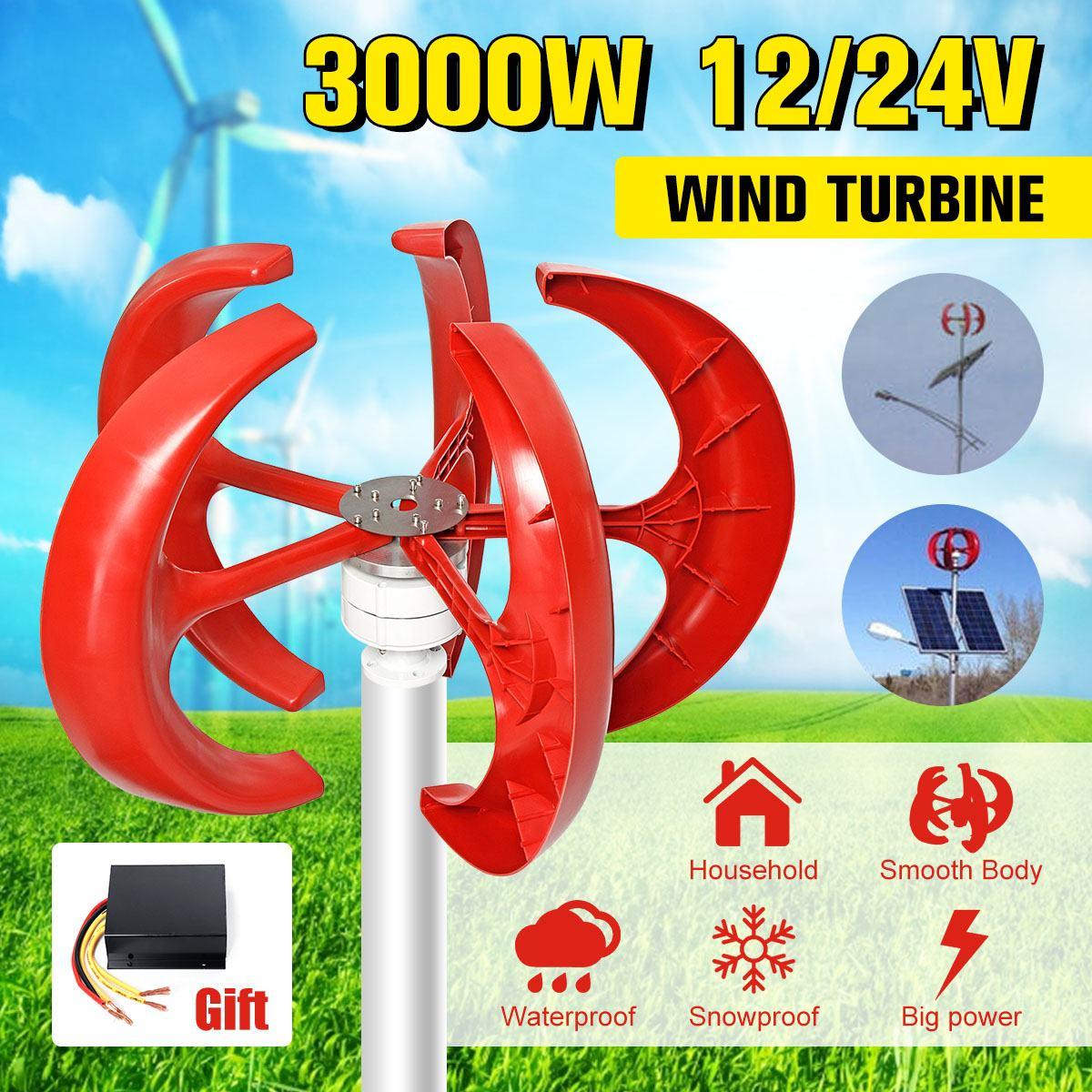 3000W 12V 24V éoliennes générateur lanterne 5 lames moteur Kit Axi Vertical pour la maison hybrides réverbère électromagnétique