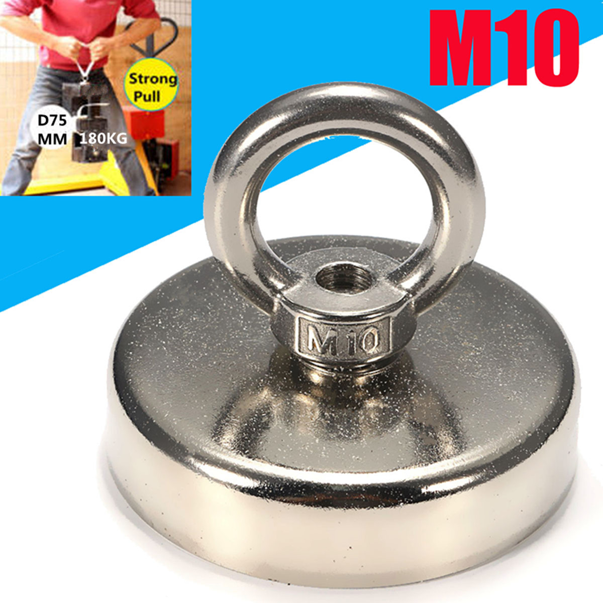 180KG Super Strong Magnet Pot Fishing Magnets Salvage Fishing Hook Magnets Strongest Permanent Powerful Magnetic