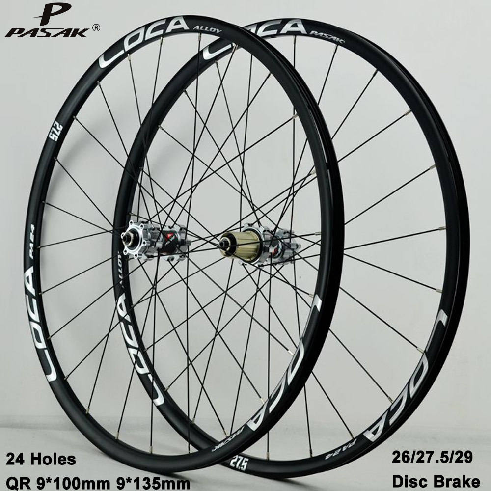 Pasak Mtb Wheelset 26 27.5 29er <font><b>Rims</b></font> <font><b>24</b></font> Holes Straight Pull Disc Brake Smooth Bearing Front 2 Rear 4 Alu Ultralight Wheels image