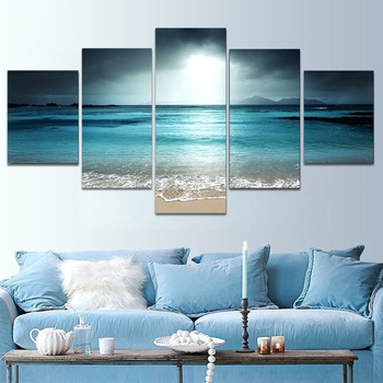 Sunset Beach Canvas Painting Wall Art Seascape 5 Panel Modular Posters Pictures Canvas Beach Living Home Decor Modern