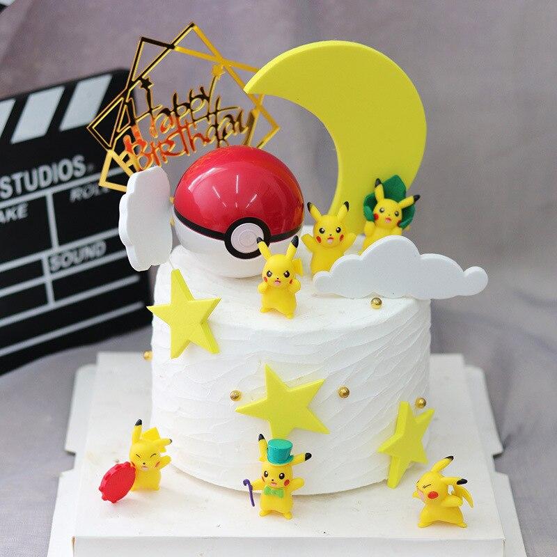 С рисунком Пикачу; Аксессуары для тортов игрушки украшения Покемон вечерние украшения торта персонажа аниме игрушка кукла эмаль собирать и...