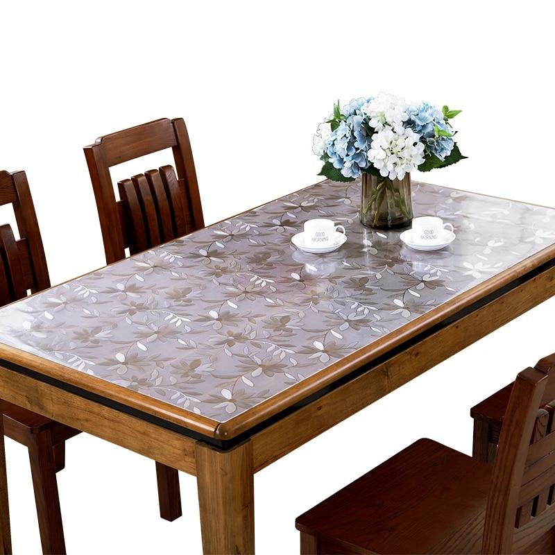 nappe en pvc souple impermeable anti chaleur tapis de table en plastique transparent mat couverture de table en bois