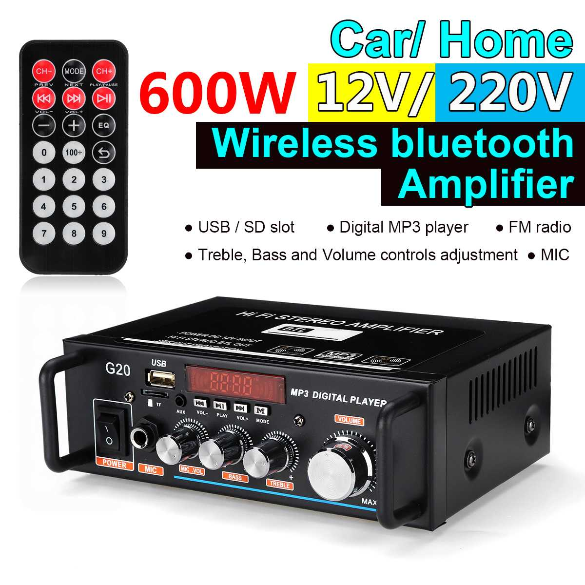 300W+300W Home Car Mini 220V/12V Bluetooth Audio Stereo Amplifier HIFI USB FM SD MIC Port Full Function Infrared Control