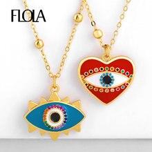 FLOLA declaración ojo colgante collar niña fibra esmalte lindo corazón collar rojo turco joyería collar de ojo turco nkep76