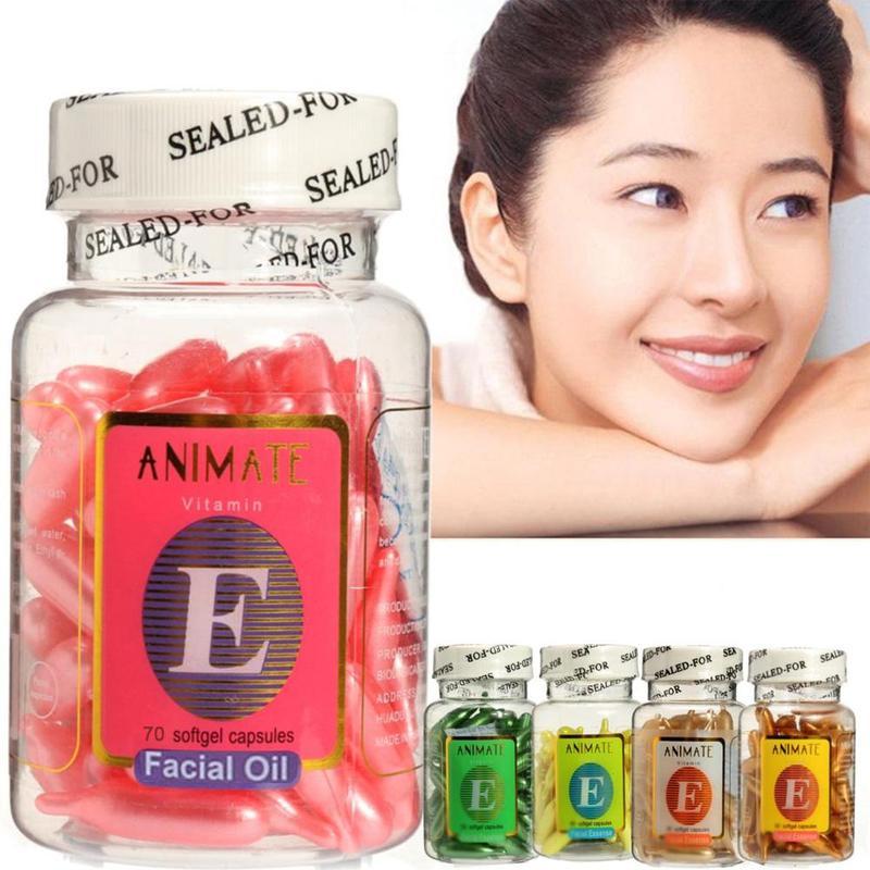 70pcs/bottle Vitamin E Facial Essence Capsules Whitening Moisturizing Repair Ance Scar Brighten Nourish Face Freckle Capsule