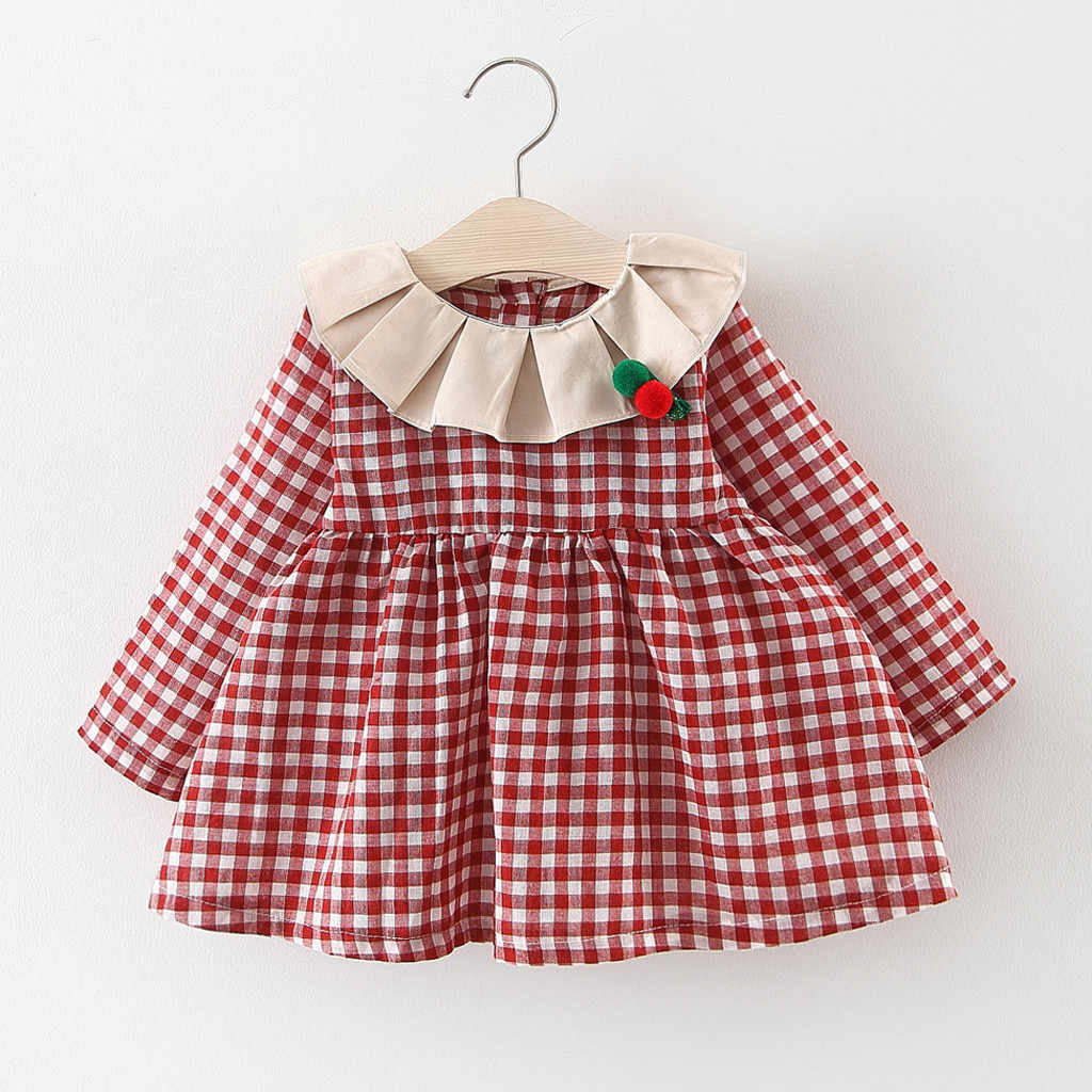 girls Dress Baby Kids Dresses for Girls Clothes Ruched Ruffles Plaid Print Princess Dresses Casual Clothes Vestidos Robe Fille