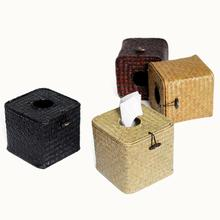 Creative Seat Type Vintage Style Wicker Straw Woven Tissue Box Roll Paper Napkin Case Holder Organizer Square Canisters
