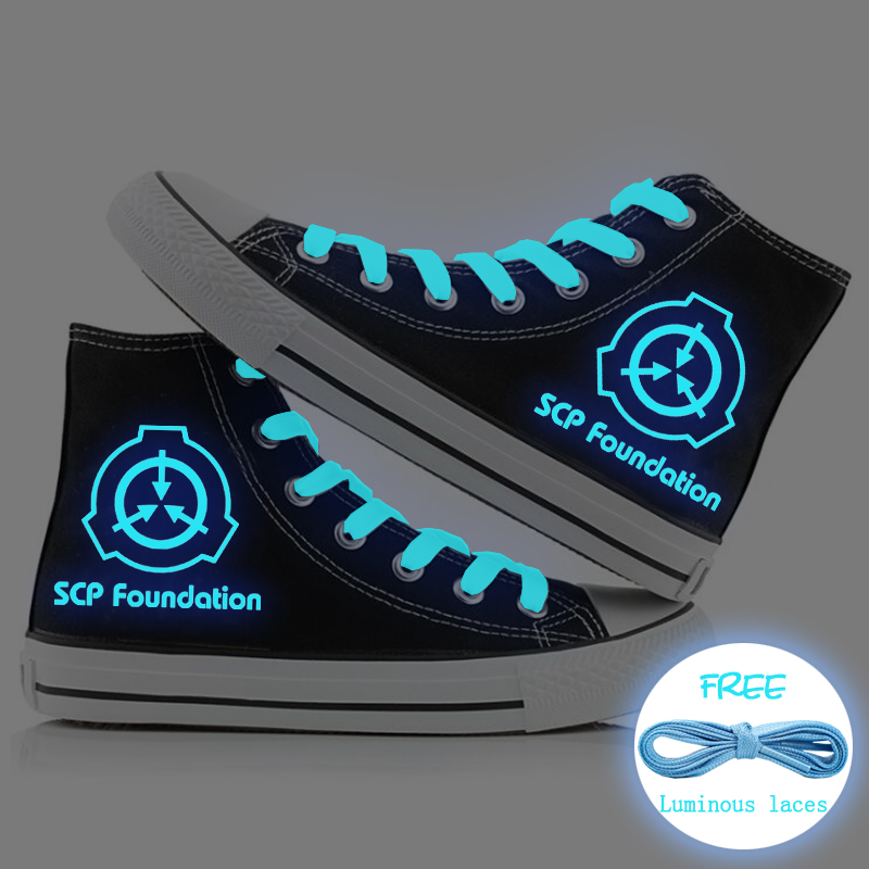 Unisex Luminous SCP Canvas Shoes Secure Contain Protect Casual Sneaker Shoes Men Women Students Girls Sport Shoes High Top Shoes