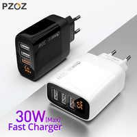 PZOZ multiple Cargador USB 30W de carga rápida 18W de cargador rapido 3.0 usb LED pantalla enchufe usb adaptador de pared para iphone 11 pro Max X Xr 7 6 plus Samsung A50 xiaomi redmi note 8 cargador movil carga rapida