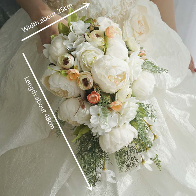 Fiori Bouquet.Janevini White Waterfall Wedding Bouquet Artificial Peony Rose