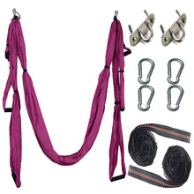 Full Set 6 Handles Anti-gravity Aerial Yoga Hammock Flying Swing Trapeze Yoga Inversion Exercises Device Home GYM Hanging Belt