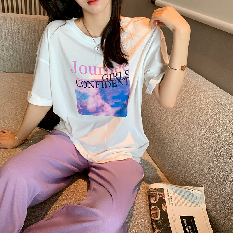 MISHOW 2020 Summer New Clothing Sets Women Printed T-Shirts & Pencil Pants 2PCS Casual Clothes Set Female MX20B0346
