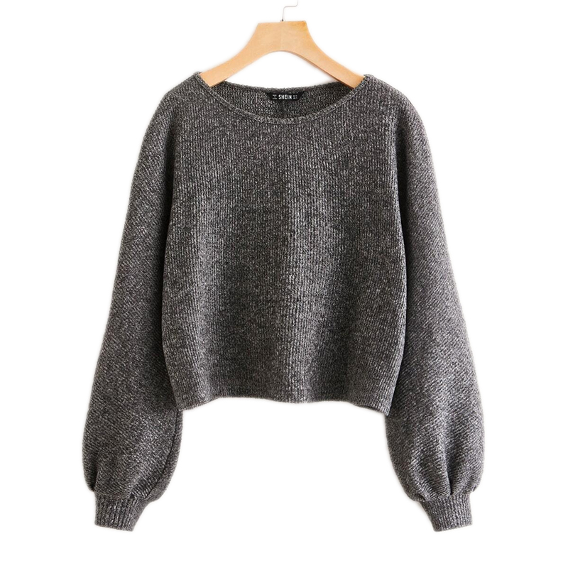 SHEIN Grey Boat Neck Ribbed knit Casual Top Women Autumn High Street Bishop Sleeve Office Ladies Basic T-shirts 10